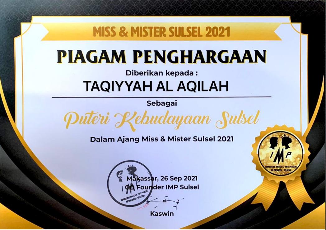 Taqiyyah Al Aqilah, PUTERI KEBUDAYAAN SULAWESI SELATAN